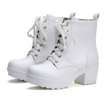 Plus size Ankle boots knight Womens lace Up high platform block heels chunky new