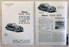 Publicité prospectus brochure Jaguar Mark v saloon road test automobile Angleterre 1950 xz