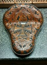 100% Custom Handmade, hand stitched, Tooled Leather Solo Chopper/Bobber/Harley
