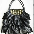 Black Genuine Leather large Bag With Studs, Ladies frill Handbag BRAND NEW Hot
