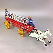 Cast Iron Toy Horse Drawn Fire Engine Ladder Truck Wagon With Drivers