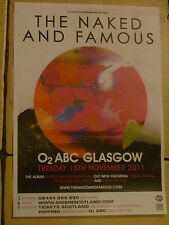 The Naked And Famous - - Glasgow -  2011 concert gig A3 poster