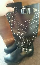 Sergio Todzi Stud Knee High mid calf biker Black Boots Size 7 New