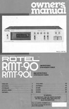 Rotel RMT-90 Tuner Owners Manual
