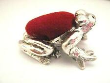 Sterling Silver Toad Frog Prince Sewing Pin Cushion pen Ink Blot Edwardian style