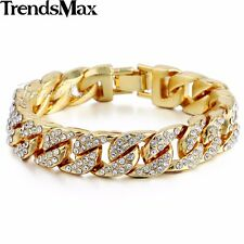 Hiphop 14mm Mens Womens Chain Curb Cuban Gold Filled GF Bracelet Rhinestones HOT