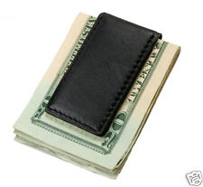 New Slim Thin Strong MAGNETIC LEATHER MONEY CLIP Wallet Billfold Black Pocket 39
