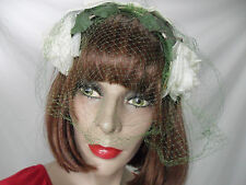 Womens 1940's vintage white rose green floral hair accessory headband hat  net