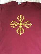 Buddhist Double Vajra/Dorje In Gold On Purple Tshirt