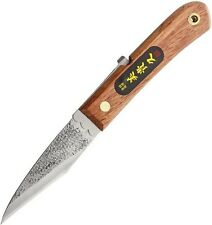 "Mikihisa MIKA122 Single Bevel LH Folding Knife Blue 4""Blade/Japanese Cherry Hndl"