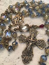 ROSARY ~ ST. MICHAEL THE ARCHANGEL ~ 8MM LIGHT BLUE CRYSTAL ~ HANDMADE ~ BRONZE