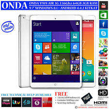 ONDA v919 3G AIR 64GB Intel 2.16 Ghz Dual OS Windows 8.1 Android 4.4 Tablet PC