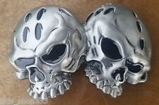 "♈ Dual SKULL   ♈ Antique Silver Color  4.5""x 2.5"" Awesome Belt Buckle"