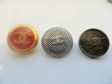 SET 3 CHANEL misc CC logo small metal buttons 3/4''  blazer sweater