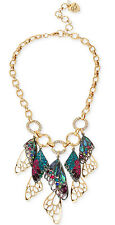 """Betsey Johnson """"You Give Me Butterflies"""" Mixed Stone Butterfly Wing Necklace"""
