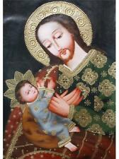 23x15 JOSE AND CHILD CUSCO ART ORIGINAL RELIGIOUS OIL PAINTING ON CANVAS P023