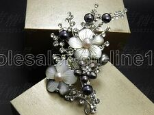 Fashion Mother of pearl Abalone Carved Shell Flower long pendant brooch