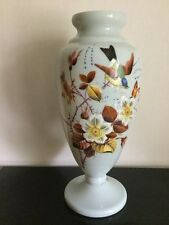 Antique Milk Glass Vase, Hand-painted Dog Roses, Bird, Butterfly