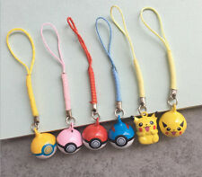 10PCS Pokemon Ball Pikachu Cell Phone Charm Strap JINGLE BELLS Dangle Figures P1
