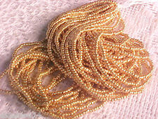 Vtg 1 HANK LIGHT WASH GOLD GLASS CHARLOTTE TINY BEADS 13/0 CZECH #072711lt