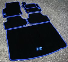 Black/Blue Car Mats - VW Golf Mk7 RHD (2013 on) + Blue R-Line Logos + Boot Mat
