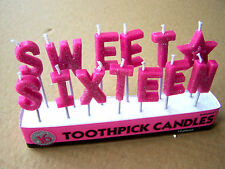 Sweet Sixteen Toothpick Birthday Candles 16th Birthday Cake Celebration Candles