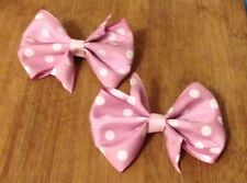 One Pair Of Pink Polka Dot Bows On Clips