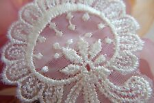 24~ Vintage~Embroidered~Lace~Appliques Trim~Ivory~Scrap booking~Baby Doll~Reborn