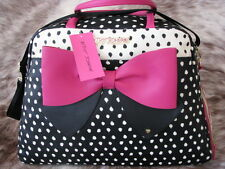 BETSEY JOHNSON PINK BOW SHOE LOVER SPOT X-LARGE TRAVEL/TOTE WEEKENDER BAG~NWT