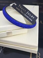 Luxurious Royal Blue Bangle With Sparkling Swarovski Crystal Elements - 0.8mm