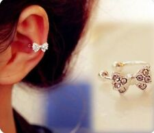 Korea Lady Vogue Bowknot Bow Rhinestone Crystal Cuff  Ear Bone Clip Earring JT12