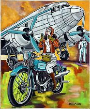 "Tableau peinture Art Deco Avion Aviation "" L'aviatrice sur sa moto "" KRIS MILVY"