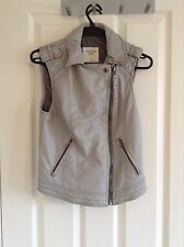 Abercrombie & Fitch Grey Faux Leather Moto Vest/gillet