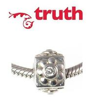 Genuine TRUTH PK 925 sterling silver sparkle cube flower charm bead