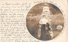 1905 RPPC Bertha in Front of Rock Mound Westerly RI