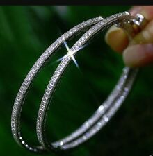 Womens 60mm Stainless Steel Large Hoop Earrings Rhinestone Crystal Silver