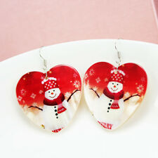 Fashion heart-shaped natural shells Christmas snowman Earrings Christmas gifts