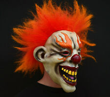 Creepy Evil Scary Halloween Clown Mask Rubber Latex Flamed Clown FREE SHIP