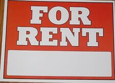"""2 x FOR RENT sign water resistant self adhesive stickers 11"""" x 8.5"""""""