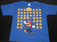 Nintendo Super Mario & Coins Blue Printed T Shirt ~ Youth Size XL  **NEW**