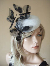 Black Laced Large Butterflies on White Button Pillbox Headpiece Fascinator MN178