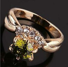 18k yellow gold filled beloved lady zircon cut crystal Cool Cluster gift size 8