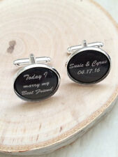 Today I Marry My Best Friend Cufflinks Gift Anniversary Wedding Groom in Silver