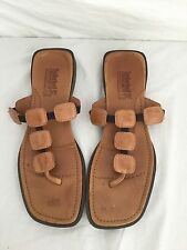 WOMEN'S TIMBERLAND BROWN LEATHER FLIP FLOP TONG SANDALS SHOES sz 8M