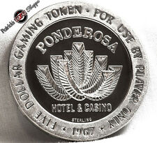 $5 FULL PROOF STERLING SILVER SLOT TOKEN PONDEROSA CASINO 1967 FM MINT RENO COIN