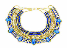 Ancient Egyptian Cleopatra Beaded Collar Necklace 7 Scarabs Halloween Costume