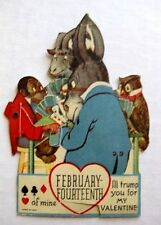 1930-40s Mechanical Valentine's Day Card w/ Animals Playing Cards