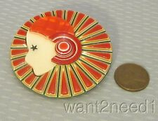 LEA STEIN PARIS COLERETTE PIN French flapper deco lady red full carved collar