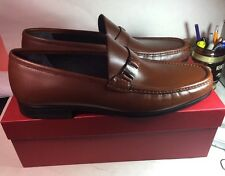 $595 Salvatore Ferragamo Marno Loafer Slip On brown Leather SZ 13 NWB