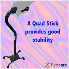 Quad Cane Walking Stick, wide base, Black, Brand NEW weight rated